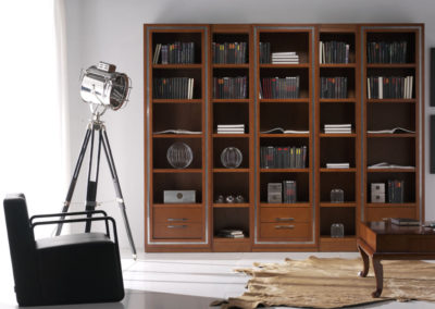 SC11 Librería recta clásica con molduras en plata.