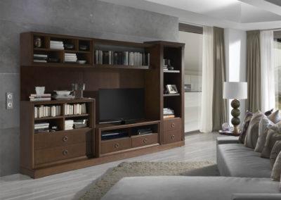 SC13 Salón modular con trasera en chapa de madera con libreros, posibilidad de diferentes medidas y acabados.