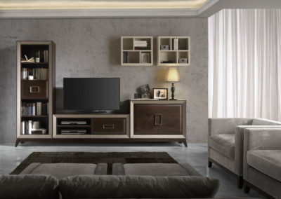 SC2 Salón modular en chapa de madera color caoba, enmarcado con moldura en crema, con base de patas, posibilidad de diferentes medidas y acabados.