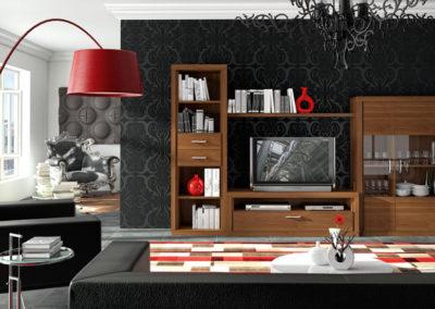 SC3 Salón modular en chapa de madera color nogal claro, con vitrina de diferentes medidas, con zócalo recto a suelo, posibilidad de diferentes acabados.