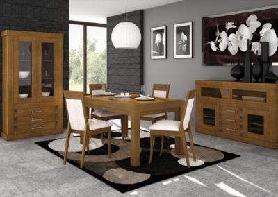 SC4 Comedor un madera maciza de pino seleccionado con detalles de cerámica.