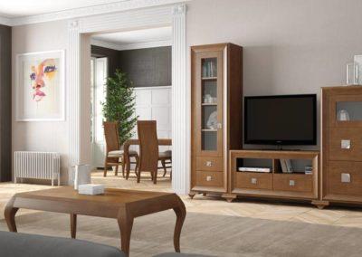 SC5 Salón modular en chapa de madera, enmarcado con moldura al tono, con bases de patas, posibilidad de diferentes medidas y acabados.