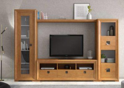 SC6 Salón modular en chapa de madera, color miel natural, enmarcado con moldura al tono, posibilidad de diferentes medidas y acabados.