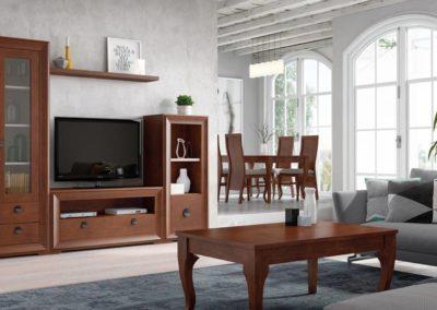 SC7 Salón modular en chapa de madera, color cerezo, enmarcado con moldura al tono, posibilidad de diferentes medidas y acabados, con zona de comedor a juego.