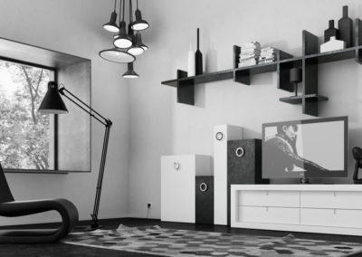 SM1 Salón líneas rectas combinado en blanco y negro, con estantes  asimétricos, posibilidad de diferentes texturas y medidas.