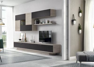 SM10 Salón recto con módulos bajos rectos con zócalo remetido y altos componibles, combinados en dos acabados, posibilidad de diferentes medidas y acabados.
