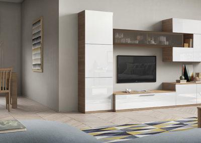 SM11 Salón modular recto combinados en dos acabados, con frentes en laca blanca, posibilidad de diferentes medidas y acabados.