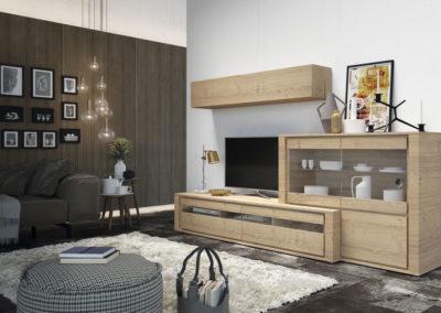 SM16 Salón modular en dos alturas, en chapa de madera natural con frente de puertas en cristal, posibilidad de diferentes medidas y acabados.