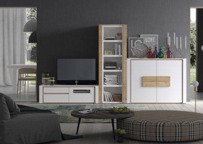 SM17 Salón modular, en chapa de madera lacada y detalles de tiradores  en color natural, posibilidad de diferentes medidas y acabados.