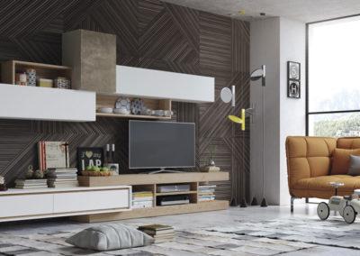 SM19 Salón modular en chapa de madera, combinado en blanco, posibilidad de diferentes medidas y acabados.