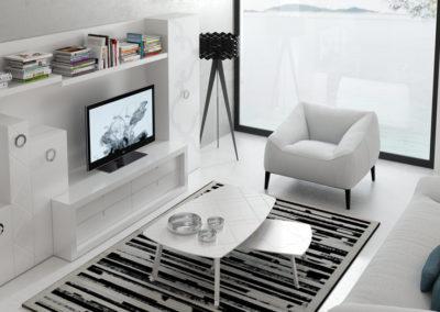 SM2 Salón líneas rectas lacado en blanco, con trasera a medida, posibilidad de diferentes texturas en los frentes y medidas.