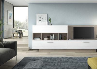 SM7 Salón recto con zócalo remetido y trasera TV, combinado en dos colores, posibilidad de diferentes medidas y acabados.