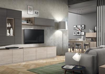 SM9 Salón recto con módulos bajos rectos y altos componibles combinados en dos acabados, posibilidad de diferentes medidas y acabados.