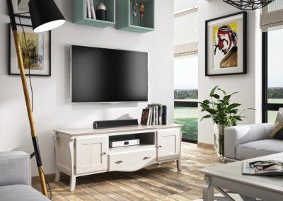 SR19 Mueble de TV en madera maciza tintada en blanco con cubos colgantes en verde agua.
