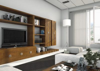 SR3 Salón modular en madera maciza, con tiradores cuadrados, posibilidad de diferentes medidas y acabados.