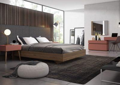 DM17 Dormitorio cabezal tapizado con mesilla y comoda en color
