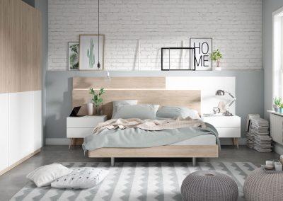 DM20 Dormitorio cabezal corrido combinado en dos acabados