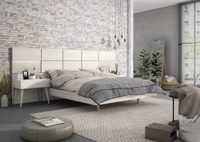 DM13 dormitorio can cabezal corrido, mesilla y bancadas con patas