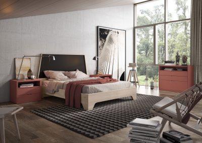 DM18 Dormitorio cabezal y bancada trapecio, combinado en distintos acabados